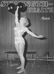 Woman lifting dumbbell from the 1950s